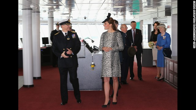 Capt. Tony Draper gives Catherine a tour on board the Princess Cruises ship on June 13 in Southampton, England.