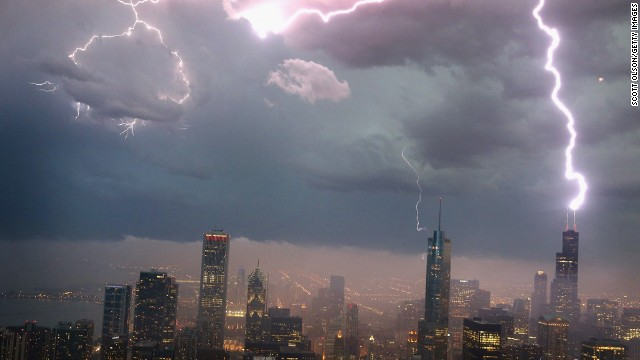 Lightning strikes the Willis Tower in downtown Chicago on Wednesday, June 12.