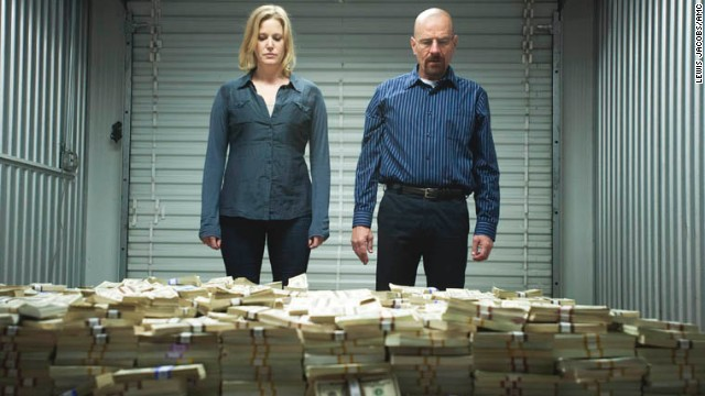 "Walt and wife Skyler (Anna Gunn), a reluctant accomplice in his tenuous drug empire, visit a storage unit where she reveals to him a massive stack of unlaundered cash. ""I want my life back,"" she pleads. ""How big does this pile have to be?"""