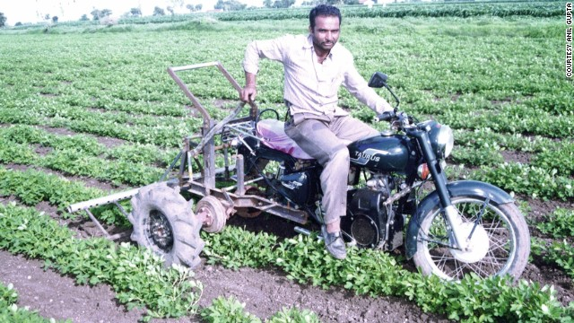 Mansukhbhai Jagani's motorcycle-based tractor is both cost effective -- costing roughly $318, and fuel efficient -- it can plow an acre of land in 30 minutes with just two liters of fuel.