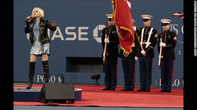 "Cyndi Lauper becomes another singer to flub the national anthem when she performs at the U.S. Open tennis tournament around the 10-year anniversary of 9/11. ""The moon shone done on us and I tried to say a prayer at the same time.. I hope I didn't mess up too bad. I wanted it to be comforting,"" <a href='https://twitter.com/cyndilauper/status/112718783164063744' target='_blank'>she tweeted afterward</a>."