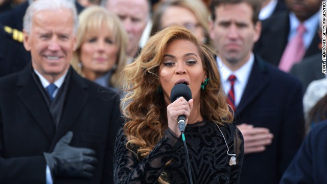 "Beyoncé wows the nation with <a href='http://www.cnn.com/video/#/video/politics/2013/01/21/inaug2013-sot-beyonce-national-anthem.cnn '>a rendition</a> on Inauguration Day in January. The singer later told reporters ""<a href='http://www.cnn.com/2013/01/31/showbiz/beyonce-super-bowl'>she decided to sing along with my prerecorded track</a>,"" a decision she made in part because she didn't have time to rehearse with the U.S. Marine Band and had had ""no proper sound check."" But she wowed any doubters in her rehearsals and halftime show at the Super Bowl in February."