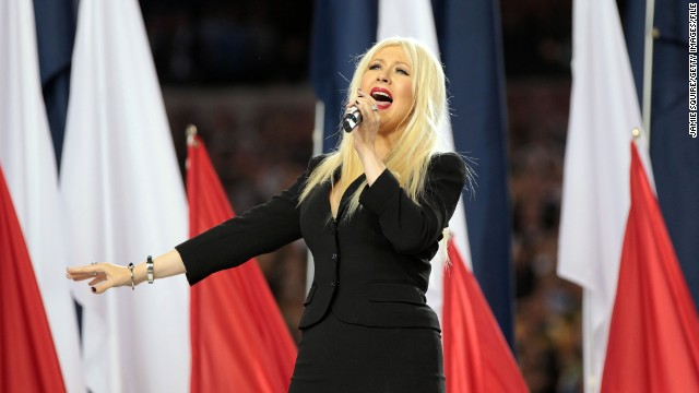 "No stranger to performing the national anthem, Christina Aguilera nevertheless forgot some of the words when she did the song at Super Bowl XLV in February 2011. ""I got so lost in the moment of the song that I lost my place,""<a href='http://marquee.blogs.cnn.com/2011/02/07/christina-aguilera-does-know-the-words-to-the-national-anthem/'> Aguilera told CNN</a>."