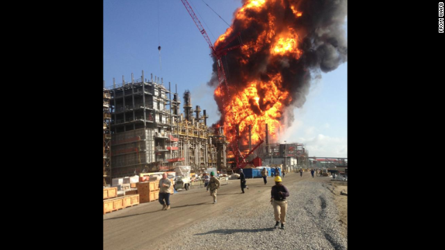 An image submitted to WAFB shows a huge column of flame from the explosion.