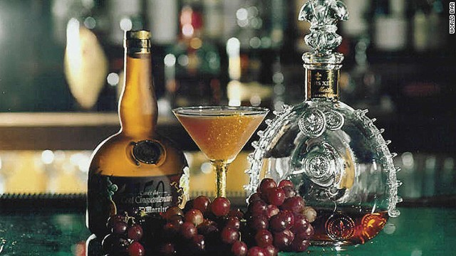At New York City's World Bar, the house specialty is a blend of grape and lemon juices, simple syrup, 23k edible liquid gold, Pineau des Charentes and bitters, topped with Veuve Clicquot champagne.