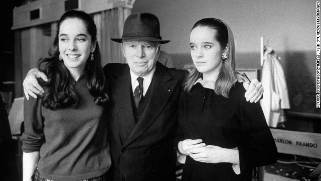 Charlie Chaplin with daughters Josephine and Victoria, 1966.