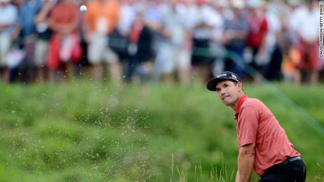 On the 17th hole, Padraig Harrington of Ireland makes his second shot on June 13.