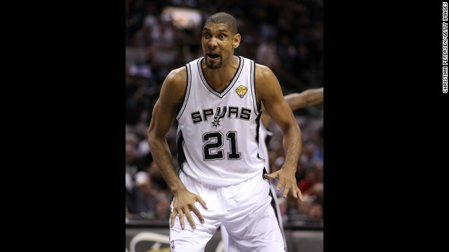 Tim Duncan of the San Antonio Spurs reacts in the third quarter.