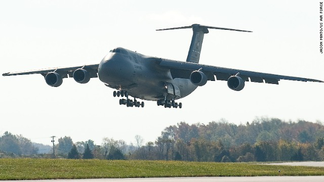 Dover's fleet includes the<a href='http://www.af.mil/information/factsheets/factsheet.asp?id=84' target='_blank'> C-5M Super Galaxy</a>, a four-engine, 65-foot-high behemoth that can tote quite a load: 270,000 pounds, to be exact. This thing has wings spanning 223 feet and 28 wheels to help it land smoothly. Its distinctive T-tail makes it easy to identify.