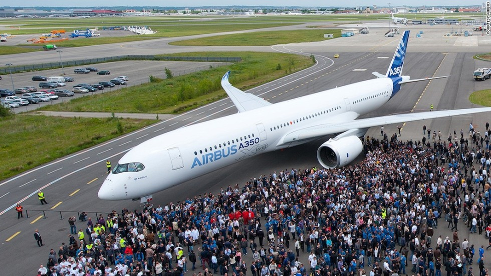 """The first completed A350 XWB from Airbus, """"MSN1,"""" was unveiled at the Airbus headquarters in Toulouse, France on May 13, 2013. """"XWB"""" means """"extra wide body."""""""