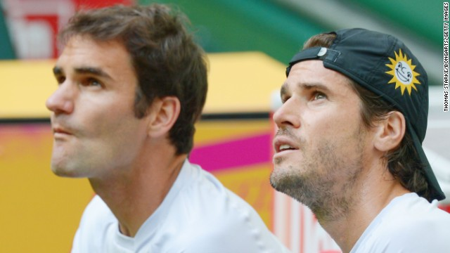 Roger Federer, left, and doubles partner Tommy Haas will meet in the semifinals in Halle, Germany.