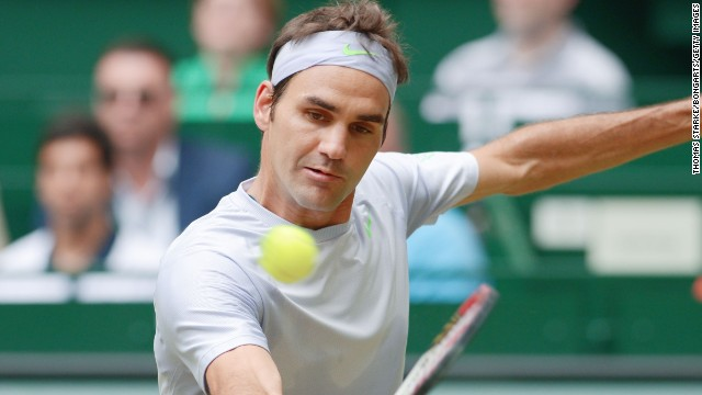 Roger Federer rallied to beat good friend and his doubles partner this week, Tommy Haas, to advance to the Halle final.