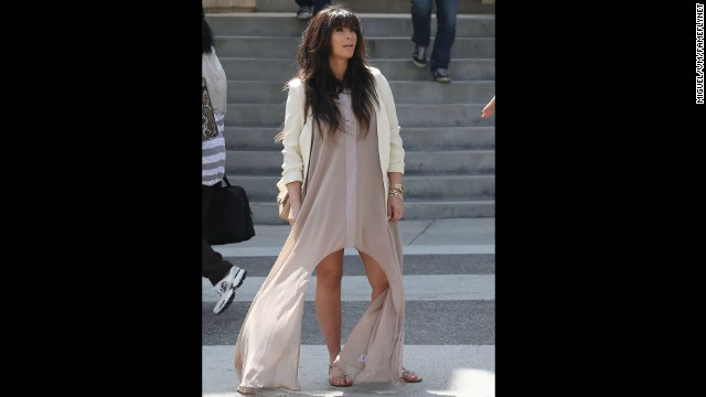 Kim Kardashian goes for an easy-breezy afternoon look in March.