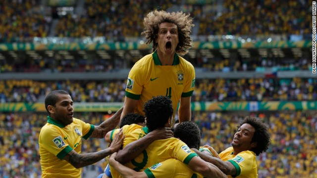 David Luiz, center, led the celebrations after Neymar's opener for Brazil against Japan.