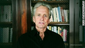 Michael Douglas and other Hollywood celebrities, in a video from the website globalzero.org, recite lines from President Barack Obama\'s 2009 speech in Prague.