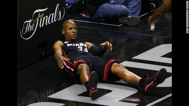 The Heat's Ray Allen lays against the basket in the second quarter.