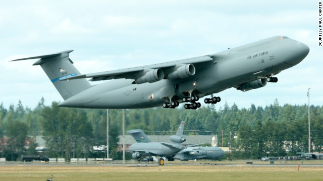 A C-5B departs Massachusetts' Westover Air Reserve Base in this 2007 photo snapped by Paul Carter.