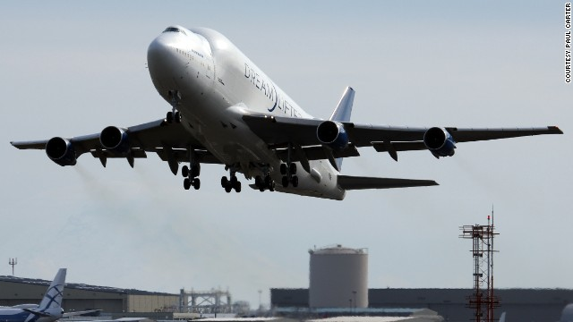 Large, pre-assembled portions of the Dreamliner are made in cities around the globe and flown to the Everett factory aboard a modified 747 called the Dreamlifter, which Boeing says can haul more cargo than any other aircraft in the world.