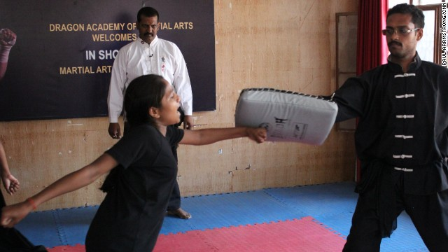 The girls are given free lessons in self-defense by a local Kung Fu teacher, who says he supports the girls' cause because of his own daughter.