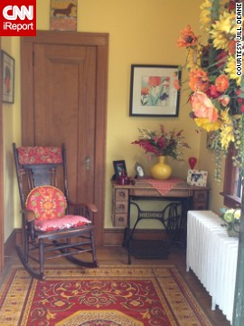 "<a href='http://ireport.cnn.com/docs/DOC-988433'>Jill Deane</a>'s ""vibrant-eclectic"" style continues from her front porch into the foyer of her 1920s home."