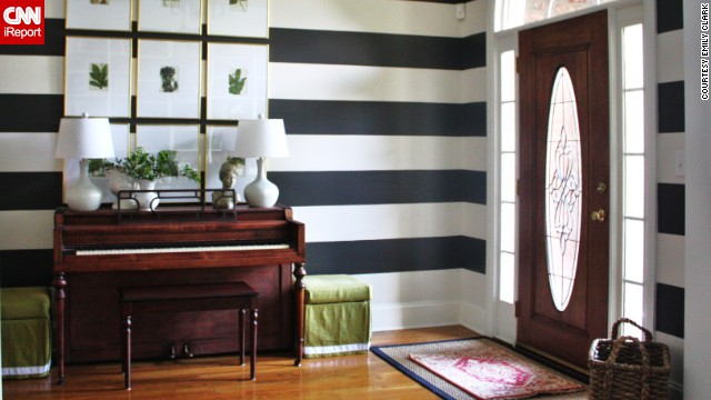 <a href='http://ireport.cnn.com/docs/DOC-986389'>Emily Clark'</a>s bold, striped foyer -- which also functions as a music room -- in Charlotte, North Carolina, is a playful take on formal decor.