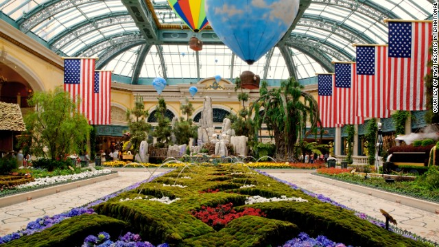 Horticulturists at the Bellagio in Las Vegas create seasonal over-the-top displays in the Conservatory. Stop in for a free musical performance.
