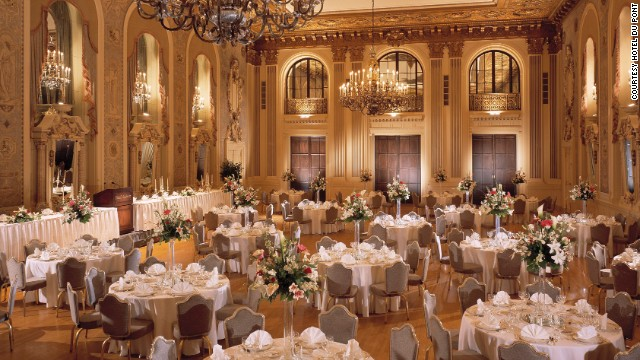 The hotel's elegant Gold Ballroom is used to host today's lavish affairs.