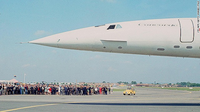 A prototype of the Concorde, the world's first supersonic commercial transport goes on display at the 1969 airshow in Paris.