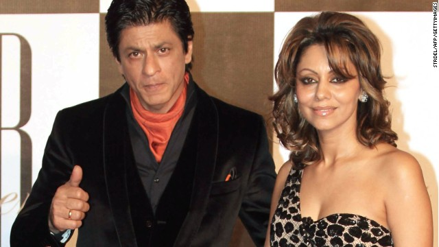 Indian Bollywood actor Shah Rukh Khan (left) poses with his wife Gauri.