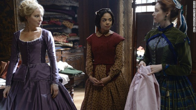 "Sara Freeman (Tessa Thompson, center) is a seamstress in season two and her work offers insight about the designs and fabrics of the time: Silks, linen, bamboo and ""tons"" of wool. Click through to see more historical creations."