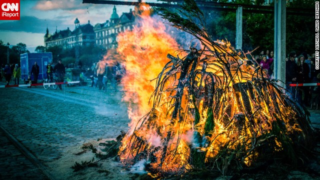 "In Denmark it's common to have big bonfires during summer solstice. Londoner Mitchel David Needham attended the Danish 'Sankt Hans Aften' in 2011. ""Whilst the bonfire was burning, several bands performed, a lot of families played games with their children around the fire and young people were drinking and generally having a great time!"""
