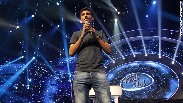 Palestinian performer Mohammad Assaf rehearses for Arab Idol in Jounieh, Lebanon, on May 17, 2013.