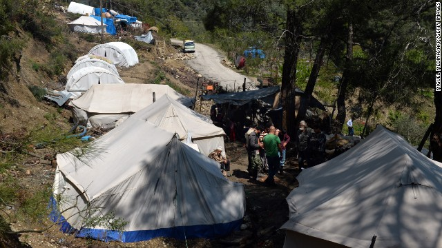 A makeshift refugee camp is seen near Syria's border with Turkey.