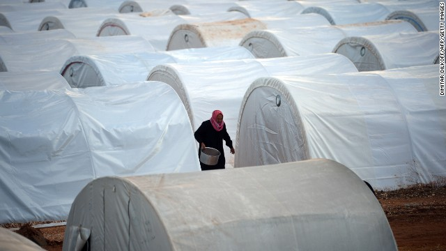 Row after row of temporary shelters fill the Maiber al-Salam refugee camp in Syria's Aleppo province, near the Turkish border on April 17.