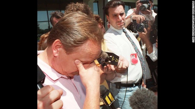 Ron Dwyer pauses to compose himself on July 20, 1996, as he speaks about his 11-year-old daughter Larkyn Lyn Dwyer, who was on TWA Flight 800.