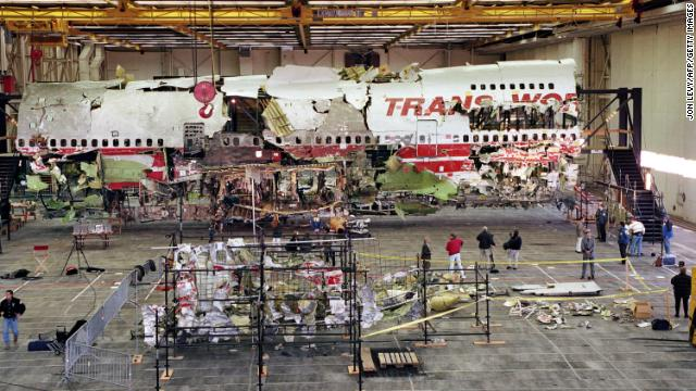 Wreckage of the front portion of the Boeing 747 aircraft is displayed in its reconstructed state on November 19, 1997 in Calverton, Long Island, New York.