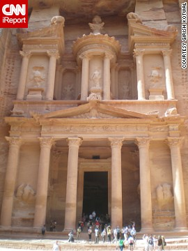 "The ancient city of Petra, carved into sandstone cliffs in the first few centuries, famously served as the setting for several scenes in ""Indiana Jones and the Last Crusade."""