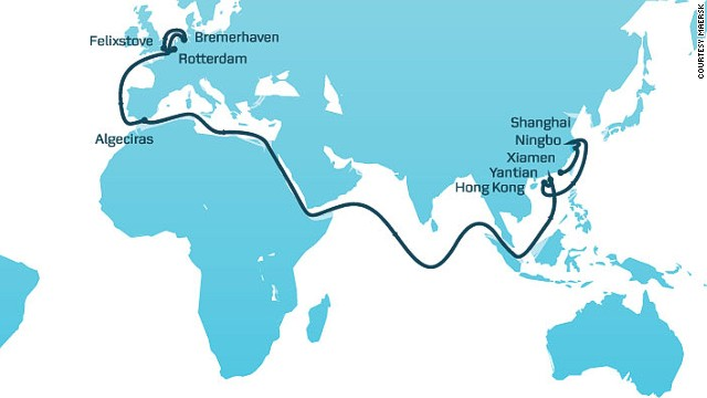 The AE10 shipping route between Asia and Europe.