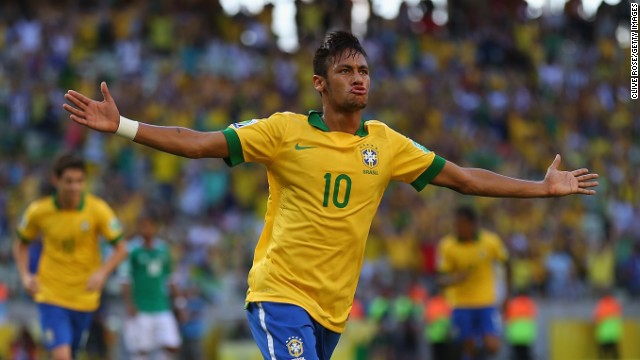 Hours after declaring himself saddened by the need for protests against Brazil's social conditions, Neymar brought joy to his compatriots with the opening goal in a 2-0 win over Mexico.