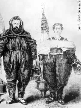 "Perhaps this couple, rendered in 1875, was unable to swim, because they are wearing the ""ureka"" unsinkable bathing outfit that has paddle gloves, a buoy and an emergency flag."
