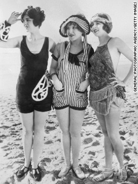 "Hollywood helped glamorize bathing suits as early as 1925, with Keystone Studios' ""Sennett Bathing Beauties,"" whose bathing suits were considered provocative."