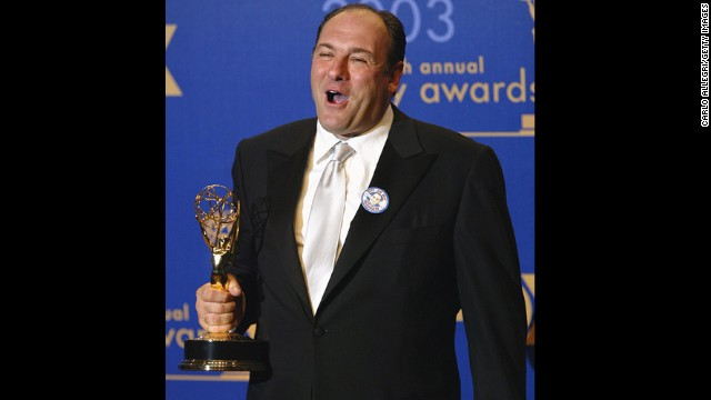 Gandolfini poses backstage during the 55th Annual Primetime Emmy Awards in 2003 in Los Angeles.