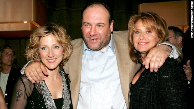 Gandolfini with Edie Falco, left, and Lorraine Bracco at the DVD launch party for