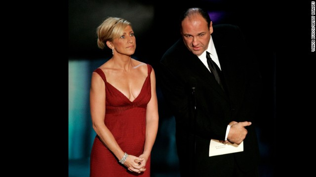 Falco and Gandolfini present the award for outstanding miniseries at the 58th Annual Primetime Emmy Awards in 2006.