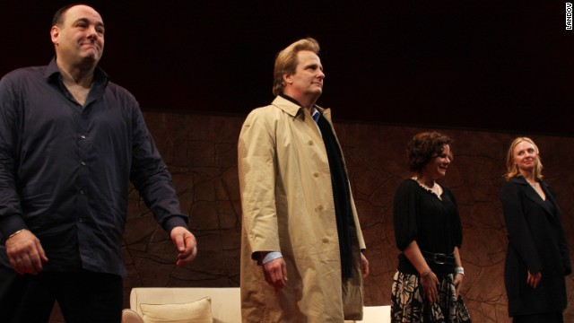 Gandolfini, Jeff Daniels, Marcia Gay Harden and Hope Davis during the curtain call of the opening of the Broadway play