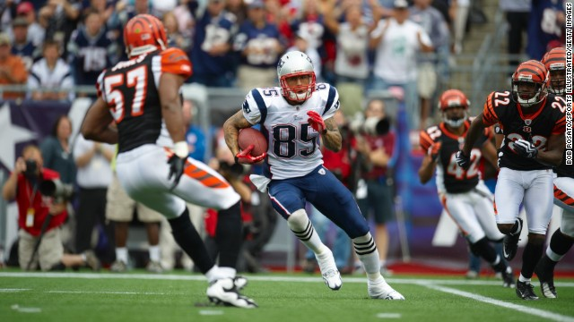 Hernandez carries the ball as the Patriots play the Cincinnati Bengals in Foxborough, Massachusetts, on September 10, 2010.
