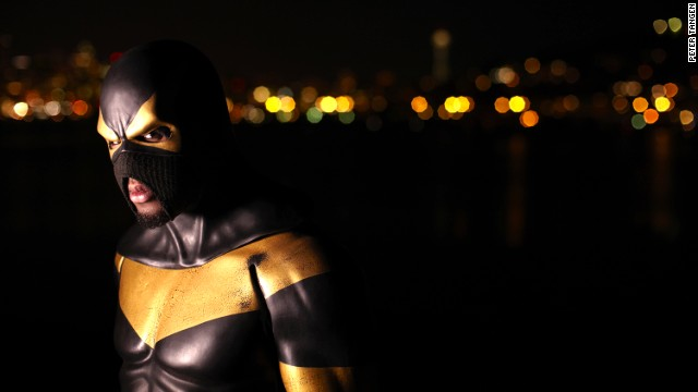 "Phoenix Jones, a Seattle real life superhero, patrols the city streets at night dressed in a $10,000 bulletproof, Kevlar reinforced supersuit. He leads a global network of superheroes called The Alliance, with members in New York, London and Dubai. The so-called ""Guardian of Seattle"" has been shot at and stabbed twice, but <a href='http://www.cbsnews.com/8301-504083_162-20027464-504083.html' target='_blank'>has also been documented stopping crimes.</a>"