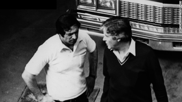 "Steve ""The Rifleman"" Flemmi, left, and bookie Dick O'Brien in one of several surveillance photographs entered into evidence in the Bulger trial. Flemmi, Bulger's partner, would meet O'Brien to collect thousands of dollars in ""rent"" every month."