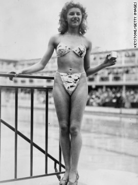 "French designer Louis Reard designed the ""Bikini"" in 1946. While other versions of two-piece swimsuits had already appeared, this one caused a real splash. Reard was unable to find a fashion model to wear the suit, so he had to hire this nude dancer from the Casino de Paris."