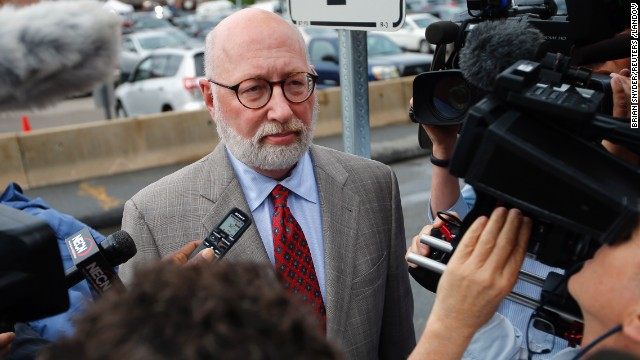 J.W. Carney, Bulger's defense attorney, arrives at the U.S. Federal Courthouse for the start of Bulger's trial in Boston on Wednesday, June 12.